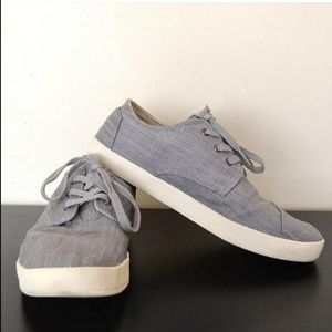 Tom's Paseo Grey Canvas Lace Up Sneakers